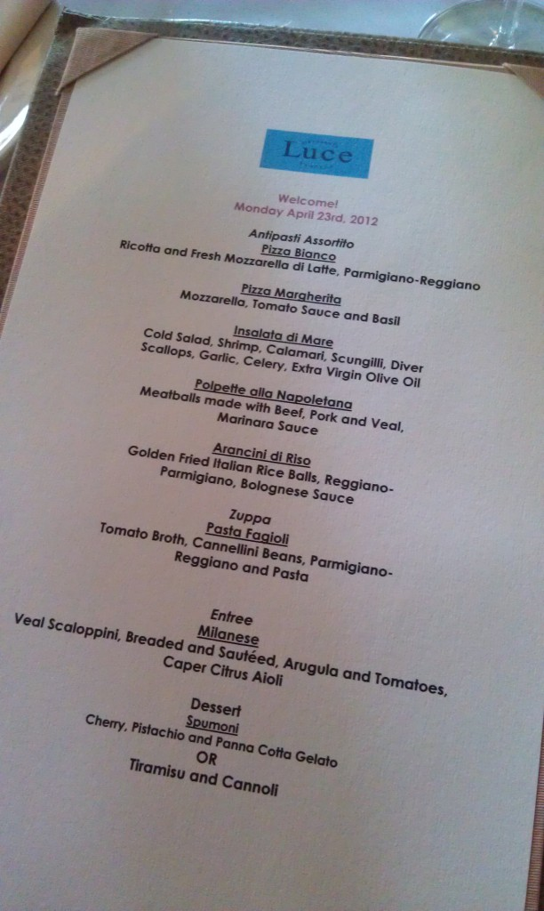 Menu for Wine & Food Blogger Dinner at Luce Ristorante & Enoteca