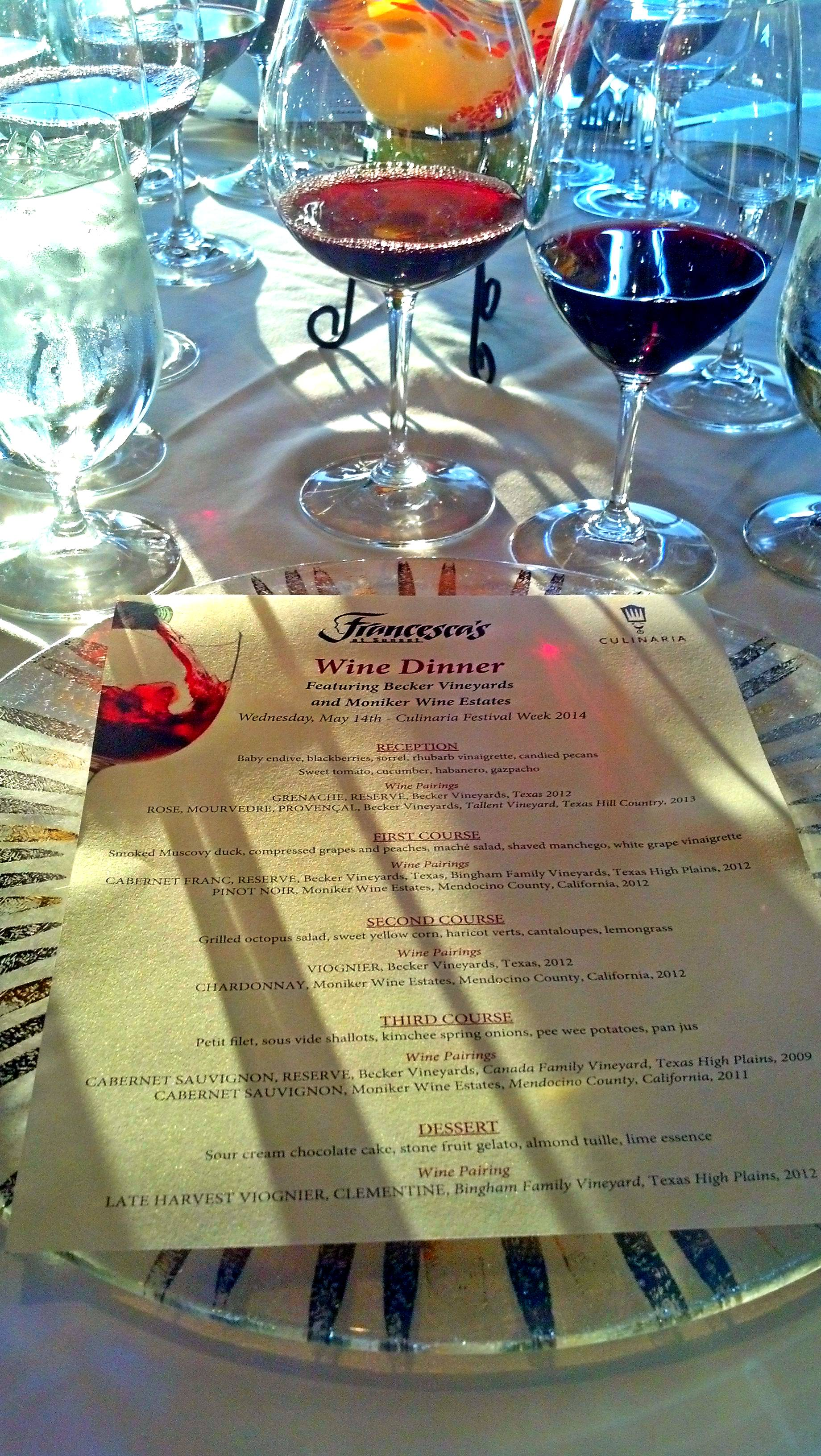 Culinaria Festival Week 2014: Becker Wine Dinner at Francesca's at La Cantera Hill Country Resort